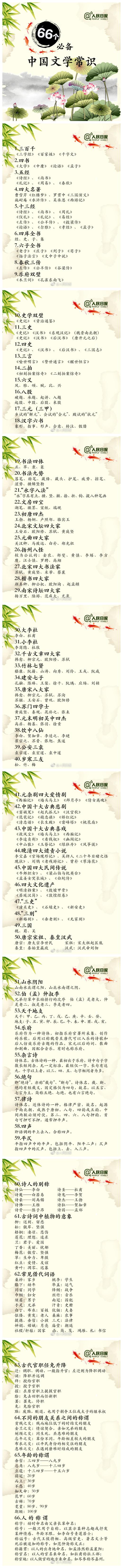 常识积累:66个必备中国文学常识
